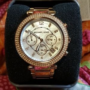 Michael Kors rose gold diamond & pearl face watch
